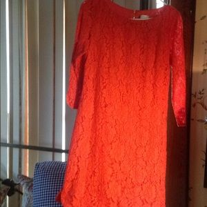 Vince camuto coral lace dress size 8 dry cleaned